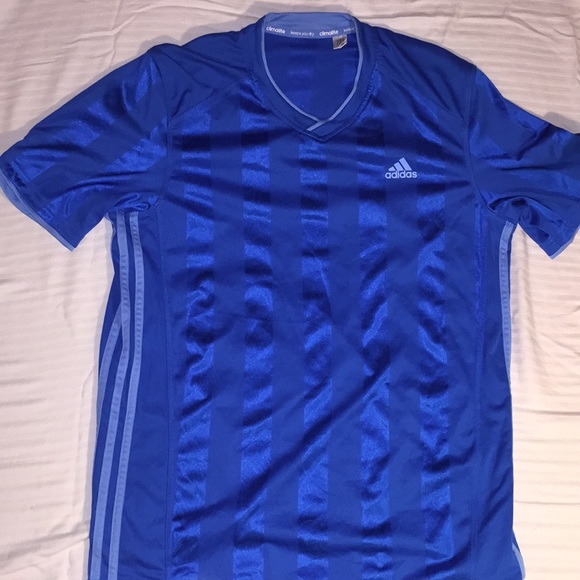 Men's Adidas climalite soccer jersey, blue, size L